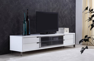 Casabianca DUKE High Gloss White Lacquer Entertainment Center - TC-0135-WH-Entertainment Centers-HipBeds.com