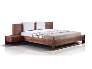 Casabianca BAY Walnut Veneer Queen Bed-Platform Beds-HipBeds.com
