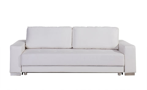 Casabianca CLOE White Eco-Leather Sofa Bed - TC-1215-WH-Sofa Beds-HipBeds.com