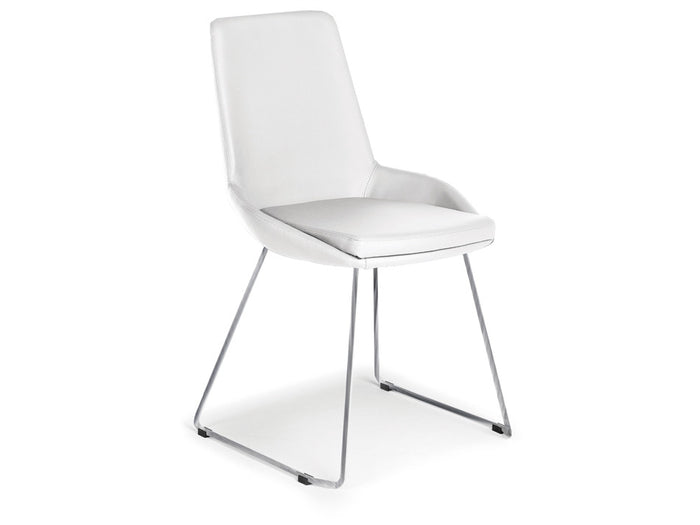 Casabianca LAURA Italian White Eco-Leather Dining Chair - TC-2001-WH