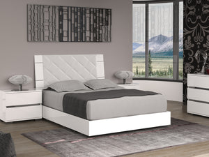 Casabianca DIAMANTI White eco-leather headboard with high gloss white lacquer Queen Bed-Platform Beds-HipBeds.com