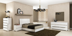 Casabianca PISA High Gloss White Lacquer w Stainless Steel King Bed-Platform Beds-HipBeds.com