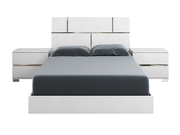 Casabianca PISA High Gloss White Lacquer w Stainless Steel King Bed