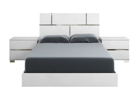 Casabianca PISA High Gloss White Lacquer w Stainless Steel Queen Bed-Platform Beds-HipBeds.com