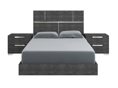 Casabianca MILO Gray Birch Lacquer King Bed-Platform Beds-HipBeds.com