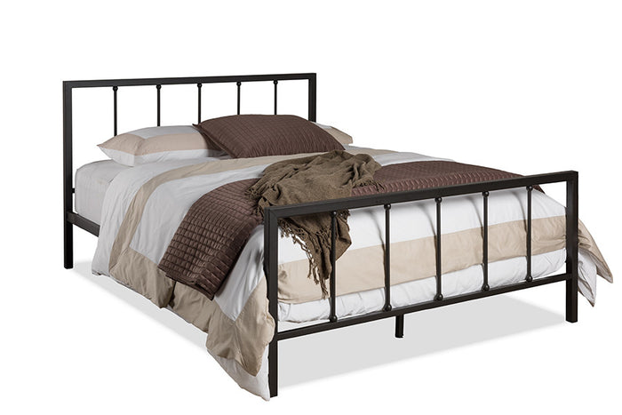 Baxton Studio Amy Modern and Contemporary Antique Dark Bronze Queen Size Iron Metal Platform Bed -  Antique Dark Bronze