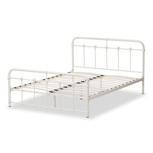 Baxton Studio Mandy White Metal Full Size Platform Bed-Platform Beds-HipBeds.com