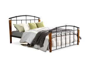Baxton Studio Optimus Modern and Contemporary Antique Dark Bronze Metal and Dark Walnut Wood Queen Size Platform Bed - Antique Dark Bronze-Platform Beds-HipBeds.com