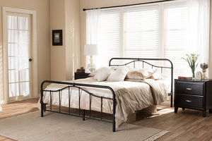 Baxton Studio Upton Vintage Inspired Dark Bronze Finish Queen Size Iron Metal Platform Bed - Antique Bronze-Platform Beds-HipBeds.com