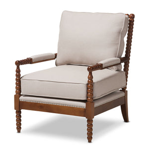 Baxton Studio Beaumont Walnut Brown Wood & Beige Spindle Lounge Chair-Chairs-HipBeds.com
