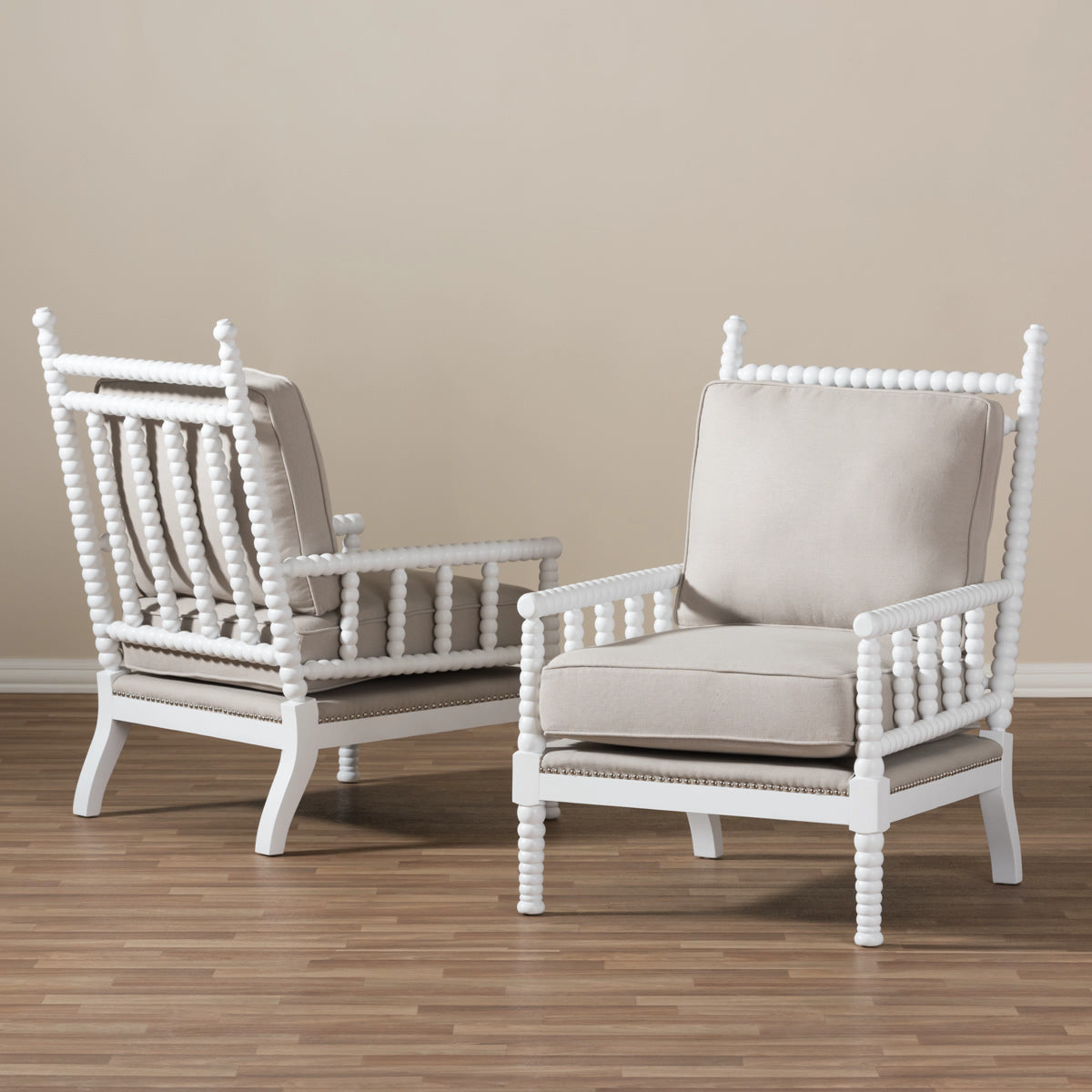 Stupendous Baxton Studio Hillary Beige White Wood Spindle Back Accent Chair Set Of 2 Gamerscity Chair Design For Home Gamerscityorg