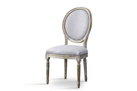 Baxton Studio Clairette Wood Traditional French Accent Chair—Round
