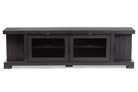 Baxton Studio Viveka 70-Inch Dark Brown Wood TV Cabinet with 2 Glass Doors and 2 Doors