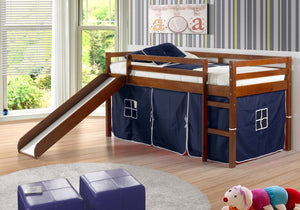 Donco Kids Twin Low Loft Bed With Slide 750-TE-Loft Beds-HipBeds.com