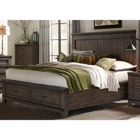 Liberty Furniture Thornwood Hills Rock Beaten Gray Storage Bed - 759-BR-XSB-Bookcase Beds-HipBeds.com
