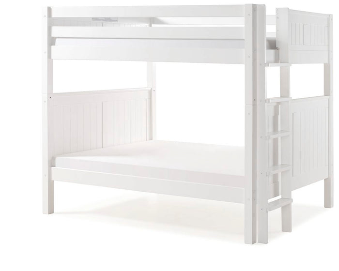 Camaflexi Bunk Bed - Camaflexi Full over Full Bunk Bed - Panel Headboard - Bed End Ladder - White Finish  - C1623L_WH