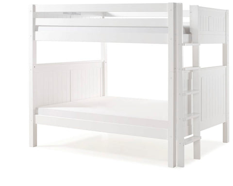 Camaflexi Bunk Bed - Camaflexi Full over Full Bunk Bed - Panel Headboard - Bed End Ladder - White Finish - C1623L_WH-Bunk Beds-HipBeds.com