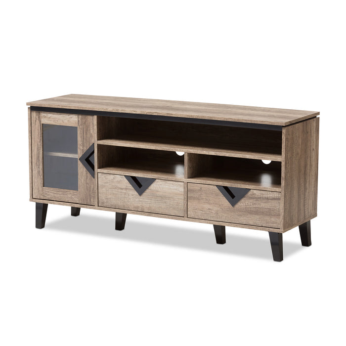 Baxton Studio Cardiff Light Brown Wood 55-Inch TV Stand