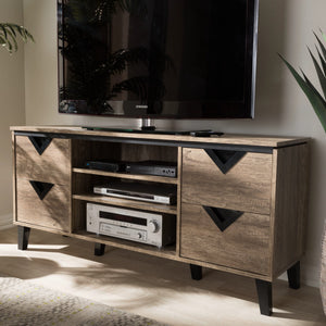 Baxton Studio Beacon Light Brown Wood 55-Inch TV Stand - 5