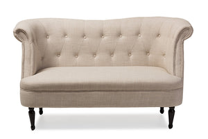 Baxton Studio Erica Victorian Style Contemporary Beige Linen Fabric Upholstered Button-tufted 2-seater Loveseat-Sofas-HipBeds.com