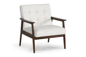 Baxton Studio Stratham White Mid-Century Modern Club Chair