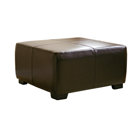 Baxton Studio Dark Brown Full Leather Square Ottoman Footstool-Table & Bar Stools-HipBeds.com