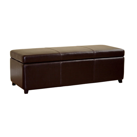 Baxton Studio Dark Brown Full Leather Storage Bench Ottoman with Stitching-Ottomans-HipBeds.com