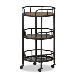 Baxton Studio Bristol Metal & Wood Mobile Serving Cart - 1