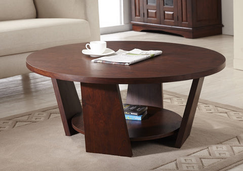 Furniture Of America Dabello Round Open Shelf Coffee Table Vintage Walnut-Coffee Tables-HipBeds.com