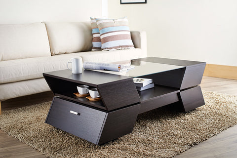 Furniture Of America Degeners Modern Glass Top Coffee Table Espresso-Coffee Tables-HipBeds.com