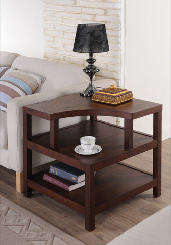 Furniture Of America Collier 3 Tier Modern End Table Vintage Walnut-End Tables-HipBeds.com