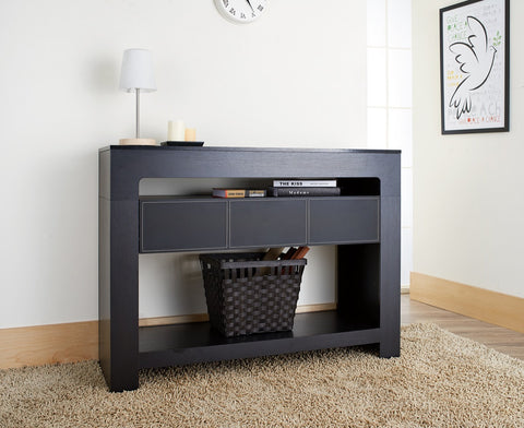 Furniture Of America Baryme Leatherette Drawer Console Table Black-Console Tables-HipBeds.com
