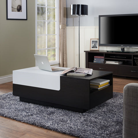 Furniture Of America Lotis Two-Tone Sliding Panel Coffee Table Black & White-Coffee Tables-HipBeds.com