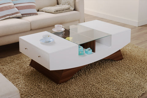 Furniture Of America Shandy Two Tone Glass Top Coffee Table White & Walnut-Coffee Tables-HipBeds.com
