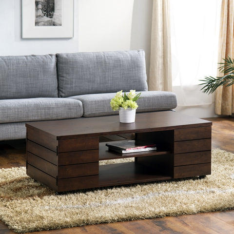 Furniture Of America Anelly Multi Storage Coffee Table Vintage Walnut-Coffee Tables-HipBeds.com