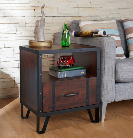Furniture Of America Marcellis Single Drawer Side Table Vintage Walnut-Tables-HipBeds.com