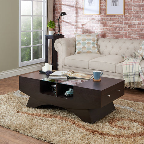Furniture Of America Shandy Modern Glass Top Coffee Table Espresso-Coffee Tables-HipBeds.com