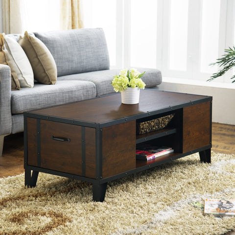 Furniture Of America Cara Multi Storage Coffee Table Vintage Walnut-Coffee Tables-HipBeds.com