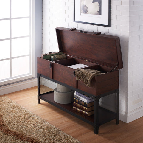 Furniture Of America Lavaar Trunk Storage Console Table Vintage Walnut-Console Tables-HipBeds.com