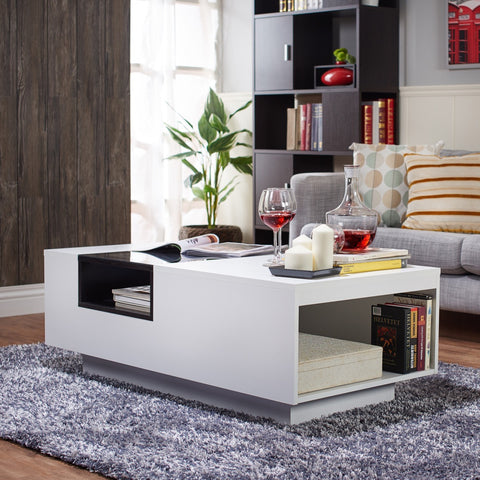 Furniture Of America Acarri Modern Glass Top Coffee Table White-Coffee Tables-HipBeds.com