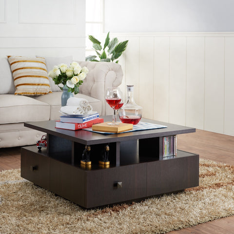 Furniture Of America Dolphina Multi Storage Square Coffee Table Espresso-COffee Tables-HipBeds.com