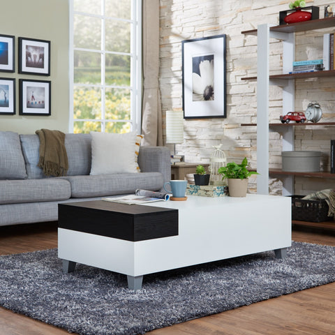 Furniture Of America Dessy Two-Tone Tray Top Coffee Table White-Coffee Tables-HipBeds.com