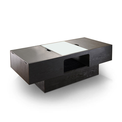 Furniture Of America Quincy Hidden Storage Glass Top Coffee Table Black-Coffee Tables-HipBeds.com