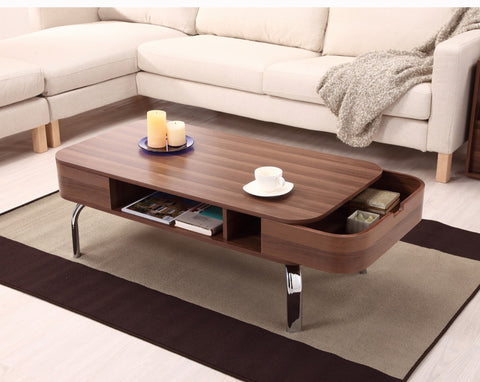 Furniture Of America Phora Hidden Drawer Coffee Table Walnut-Coffee Tables-HipBeds.com