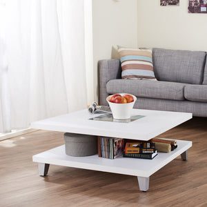 Furniture Of America Gasper Glass Insert Square Coffee Table White & Walnut-Coffee Tables-HipBeds.com