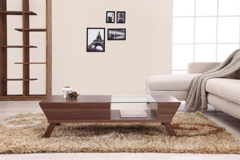 Furniture Of America Razo Multi Storage Glass Top Coffee Table Walnut-Coffee Tables-HipBeds.com
