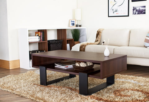 Furniture Of America Kamina Open Shelf Coffee Table Walnut & Black-Coffee Tables-HipBeds.com