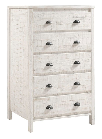 Camaflexi Chest - Baja Five Drawer Chest - Shabby White Finish  - BJ309-Chest-HipBeds.com
