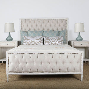 Lennox Design Hannah Tufted Bedroom Set, King - White-Platform Beds-HipBeds.com