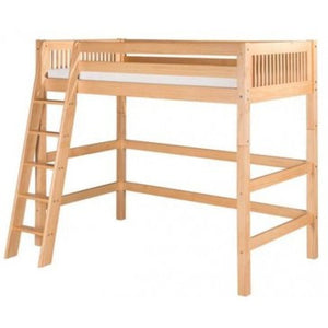 Camaflexi Full High Loft Bed - Mission Headboard - Natural Finish - C611F_NT-Loft Beds-HipBeds.com